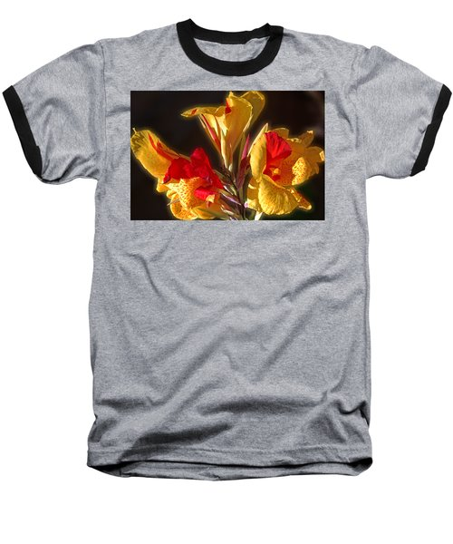 Baseball T-Shirt featuring the photograph Glowing Iris by DigiArt Diaries by Vicky B Fuller