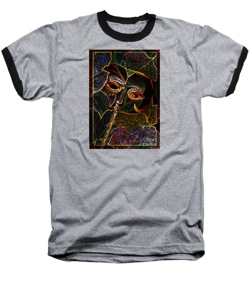 Baseball T-Shirt featuring the relief Glowing Mask With Leaves by Nareeta Martin