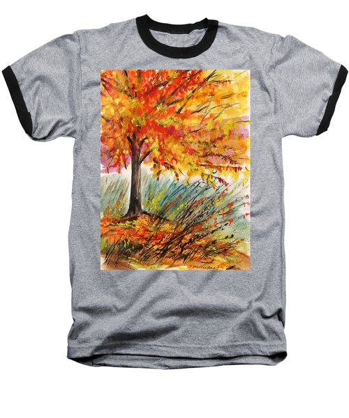 Baseball T-Shirt featuring the painting Gold On A Blue Day by John Williams
