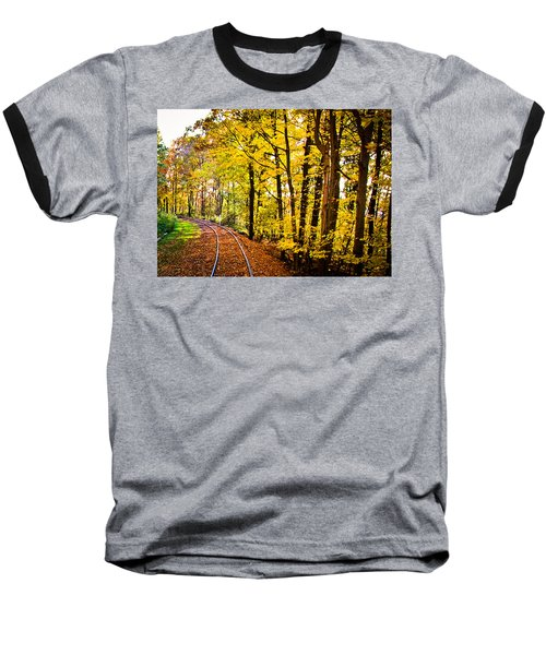 Baseball T-Shirt featuring the photograph Golden Rails by Sara Frank