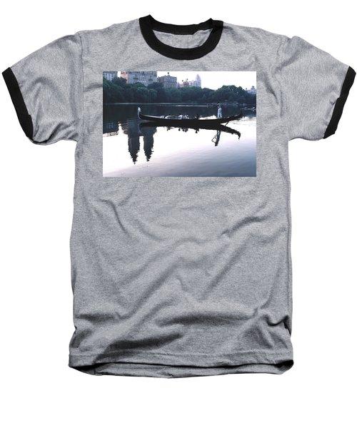 Gondola On The Central Park Lake Baseball T-Shirt by Tom Wurl