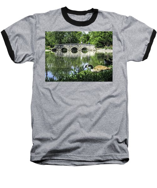 Baseball T-Shirt featuring the photograph Goose And Bridge At Silver Lake by Tom Gort