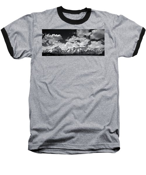Grand Tetons Panorama In Monochrome Baseball T-Shirt
