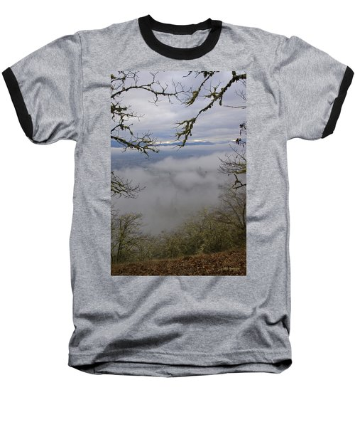 Grants Pass In The Fog Baseball T-Shirt by Mick Anderson