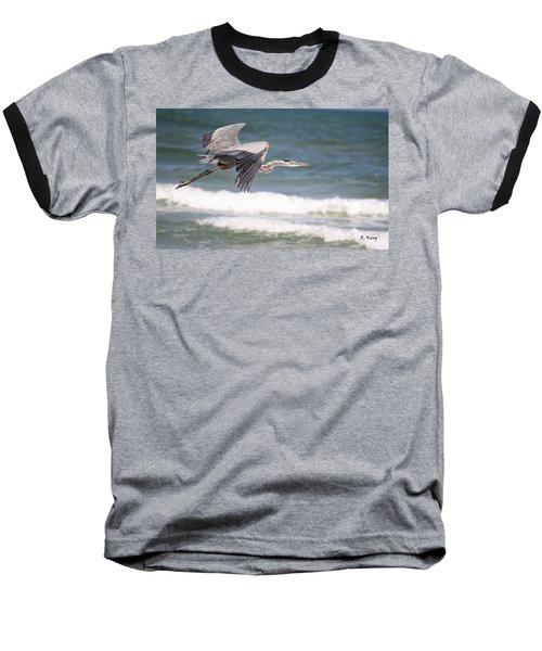 Great Blue Heron In Flight Baseball T-Shirt