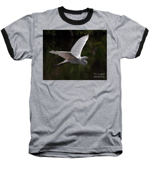 Baseball T-Shirt featuring the photograph Great Egret Flying by Art Whitton