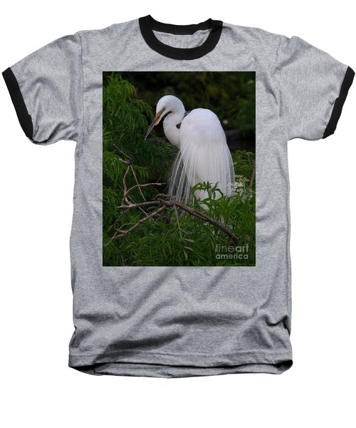 Baseball T-Shirt featuring the photograph Great Egret Nesting by Art Whitton