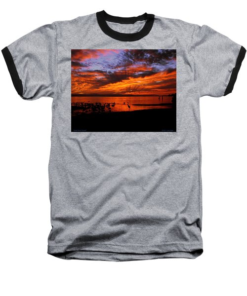 Great Heron Sunset Baseball T-Shirt