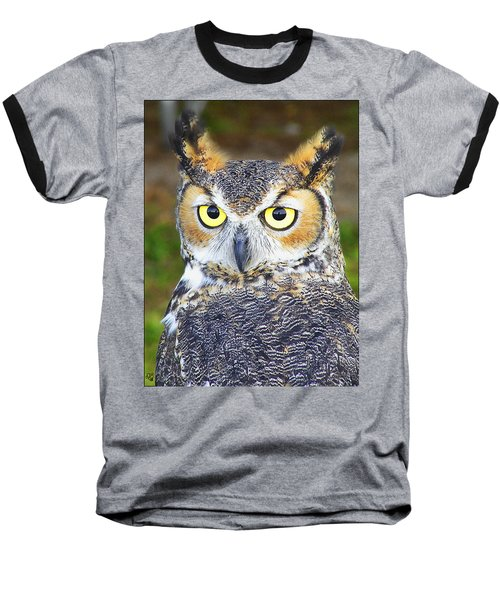 Baseball T-Shirt featuring the photograph Great Horned Owl by Barbara Middleton
