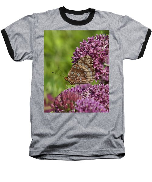 Great Spangled Fritillary Din194 Baseball T-Shirt by Gerry Gantt