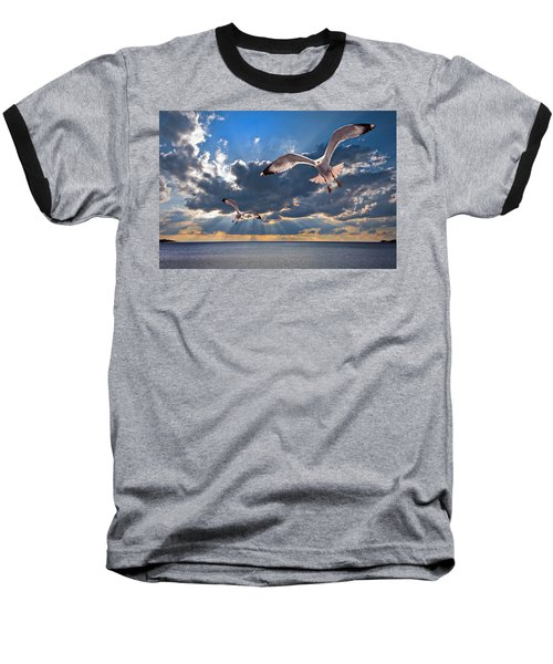 Greek Gulls With Sunbeams Baseball T-Shirt