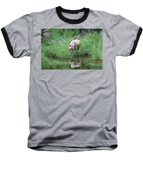 Grizzly Bear And Reflection On Prince Rupert Island Canada 2209 Baseball T-Shirt