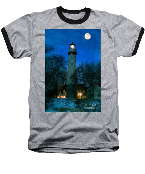 Grosse Point Lighthouse Before Dawn Baseball T-Shirt