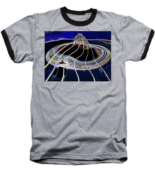 Baseball T-Shirt featuring the digital art Guitar Warp Glowing Edges by Anne Mott