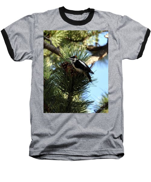 Hairy Woodpecker On Pine Cone Baseball T-Shirt