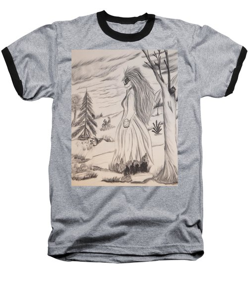 Baseball T-Shirt featuring the drawing Halloween Witch Walk by Maria Urso