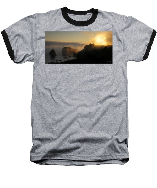 Harris Beach Sunset Panorama Baseball T-Shirt by Mick Anderson