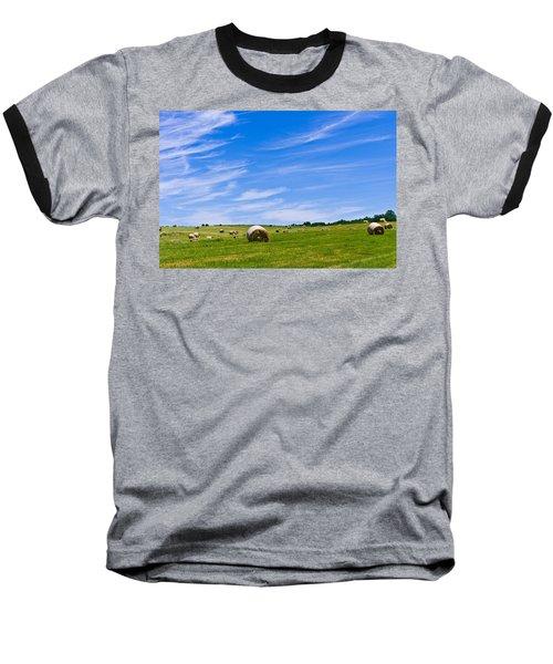 Hay Bales Under Brilliant Blue Sky Baseball T-Shirt