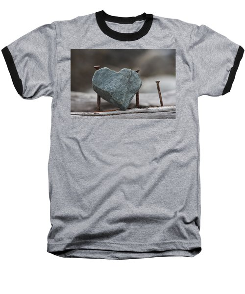 Heart Of Stone Baseball T-Shirt by Cathie Douglas