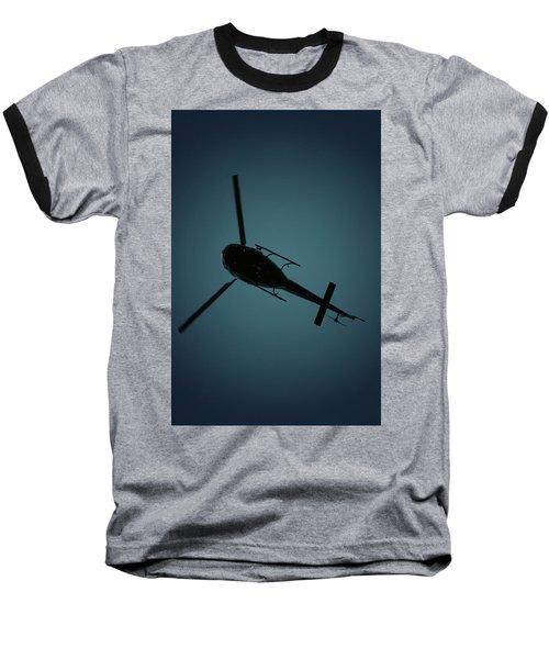 Helicopter Silhouette Baseball T-Shirt
