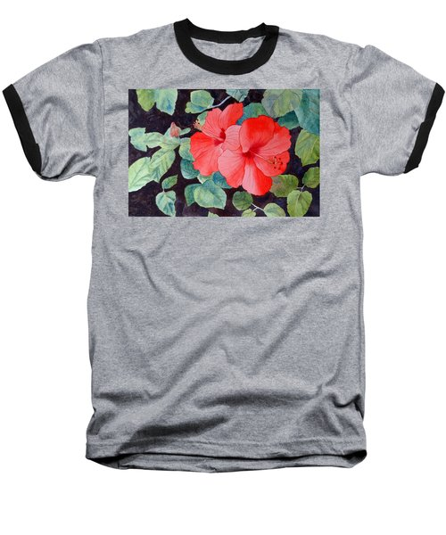Baseball T-Shirt featuring the painting Hibiscus by Laurel Best