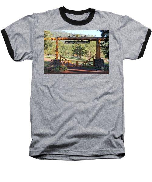 Hidden Meadow Ranch Baseball T-Shirt by Pamela Walrath