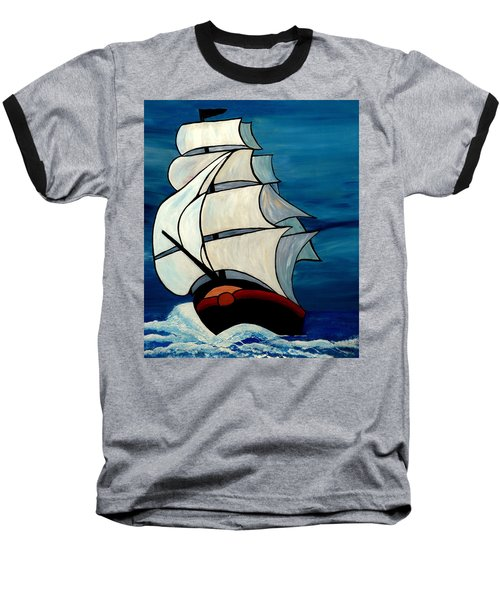 Baseball T-Shirt featuring the painting High Sea by Cynthia Amaral