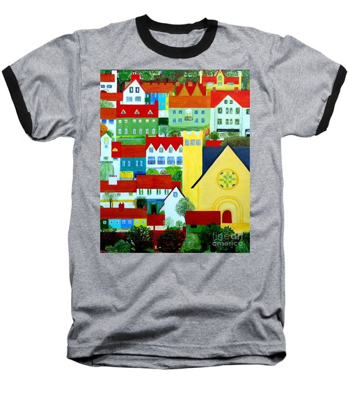 Baseball T-Shirt featuring the painting Hillside Village by Barbara Moignard