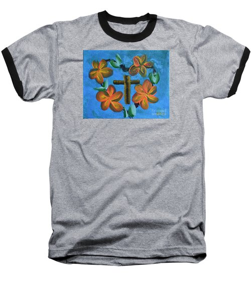 Baseball T-Shirt featuring the painting His Love For Us by Donna Brown