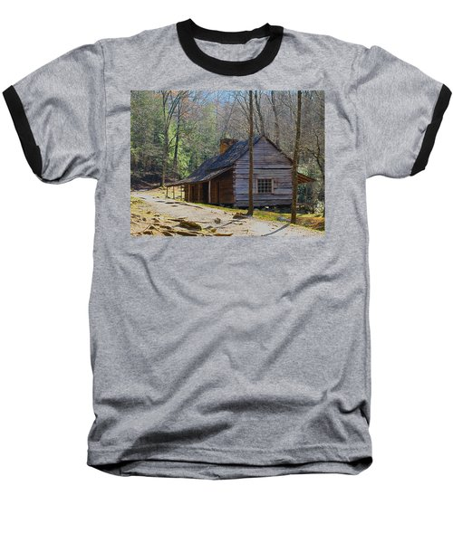 Historic Cabin On Roaring Fork Motor Trail In Gatlinburg Tennessee  Baseball T-Shirt