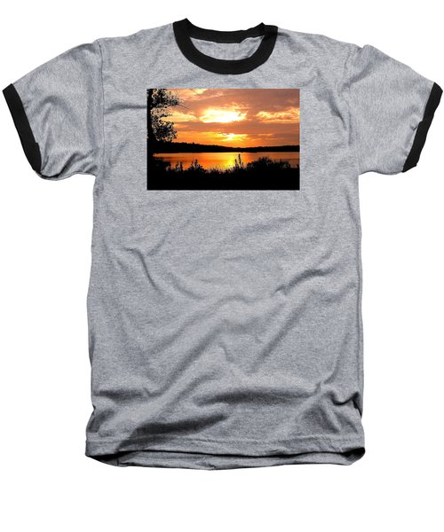 Horn Pond Sunset 2 Baseball T-Shirt