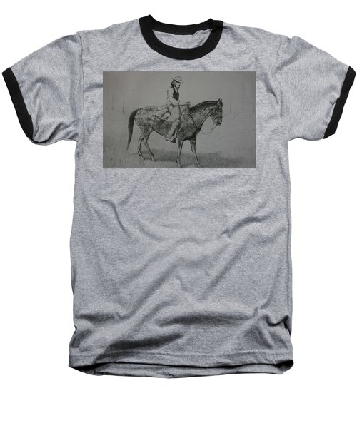 Baseball T-Shirt featuring the drawing Horseman by Stacy C Bottoms