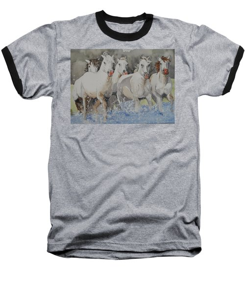 Horses Thru Water Baseball T-Shirt