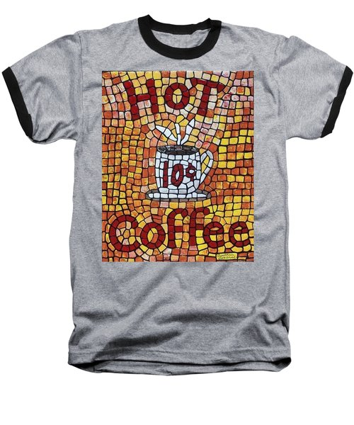 Baseball T-Shirt featuring the painting Hot Coffee 10cents by Cynthia Amaral