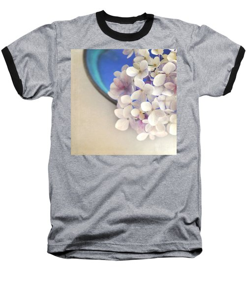 Hydrangeas In Blue Bowl Baseball T-Shirt by Lyn Randle