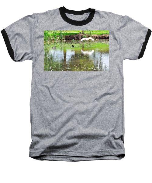 Ibis Over His Reflection Baseball T-Shirt by Kaye Menner