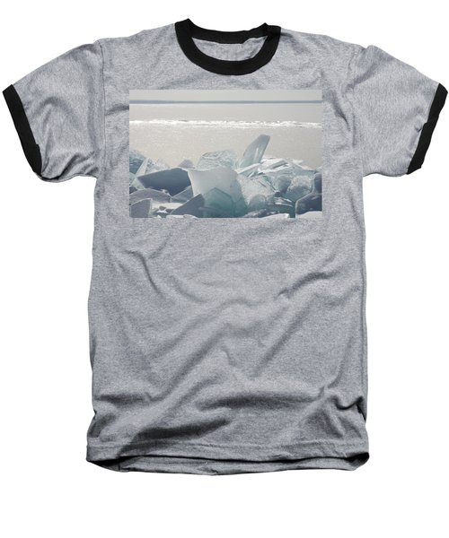 Ice Chunks On The Shores Of Lake Baseball T-Shirt by Susan Dykstra
