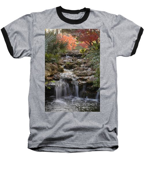Waterfall In The Japanese Gardens, Ft. Worth, Texas Baseball T-Shirt