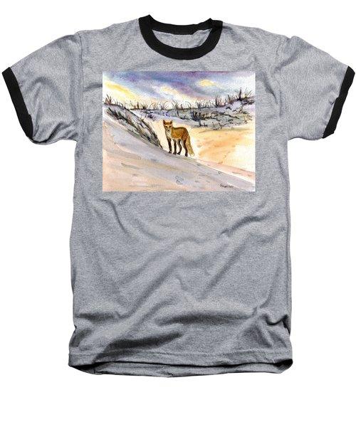 Baseball T-Shirt featuring the painting Jersey Shore Fox by Clara Sue Beym