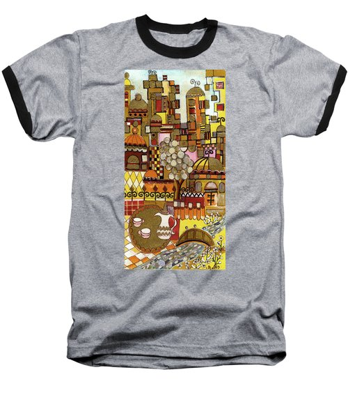Jerusalem Alleys Tall 5  In Red Yellow Brown Orange Green And White Abstract Skyline Landscape   Baseball T-Shirt