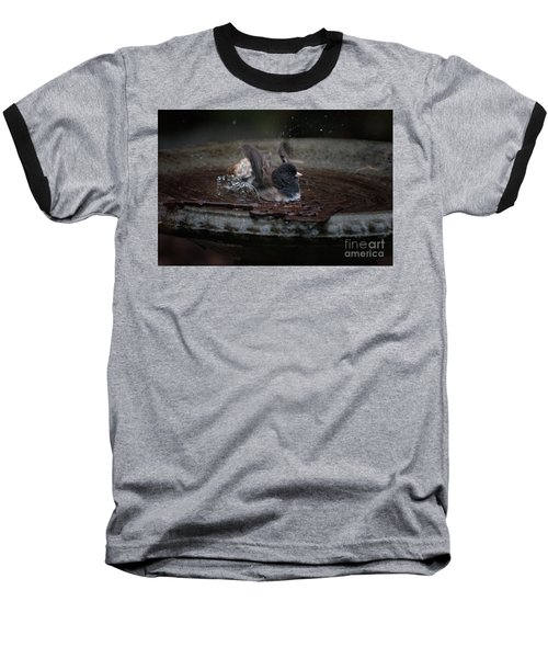 Junco In The Birdbath Baseball T-Shirt by Carol Ailles