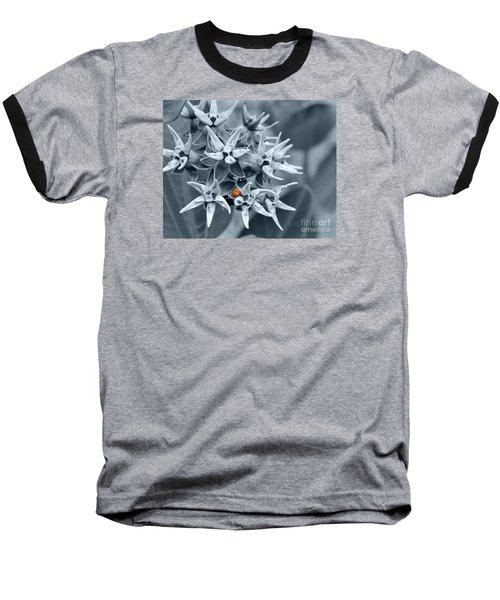 Ladybug Flower Baseball T-Shirt by Rebecca Margraf