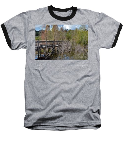Lake Bonny Boardwalk Baseball T-Shirt by Carol  Bradley