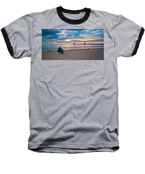 Lake Michigan Fishing Baseball T-Shirt