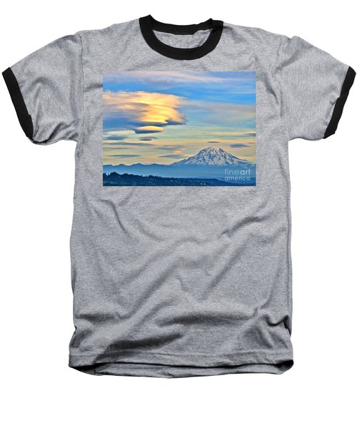 Baseball T-Shirt featuring the photograph Lenticular Cloud And Mount Rainier by Sean Griffin