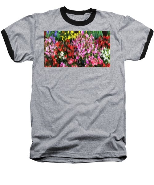 Baseball T-Shirt featuring the mixed media Les Fleurs by Terence Morrissey
