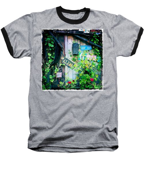Baseball T-Shirt featuring the photograph License Plate Wall by Nina Prommer