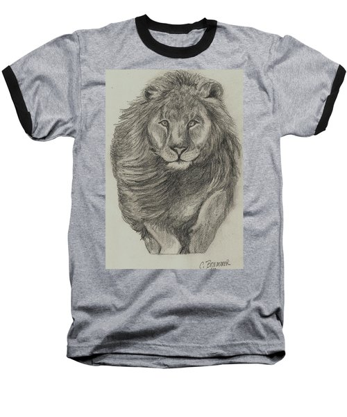 Baseball T-Shirt featuring the drawing Lion by Christy Saunders Church