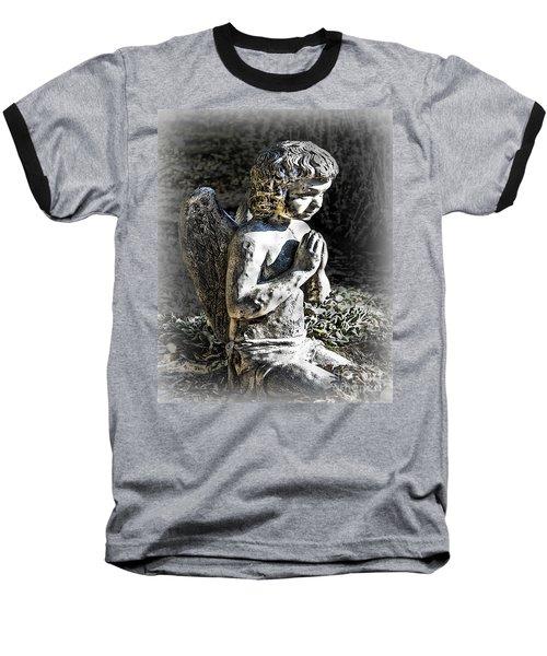 Little Angel Statue Baseball T-Shirt by Danuta Bennett