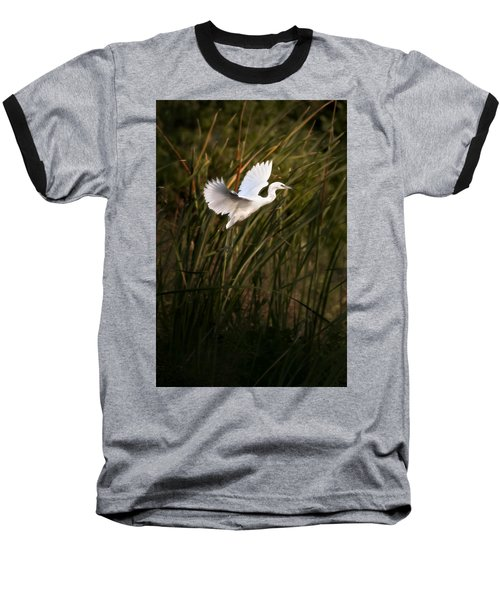 Baseball T-Shirt featuring the photograph Little Blue Heron On Approach by Steven Sparks